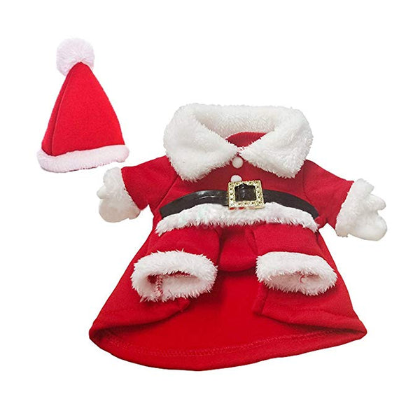 Funny Pet Santa Cosplay Costumes Suit with a Cap, Puppy Fleece Outfits Warm Coat Animal Festival Apparel Clothes