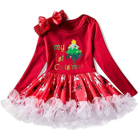 Baby Girls Long Sleeve Christmas Costume Romper Tutu Dress