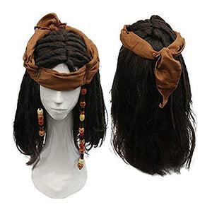 Caribbean Pirate Captain Jack Cosplay Props Wig Hat Beard