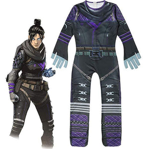 Kids Apex Wraith Costume Cosplay 3D Style Children Tights Jumpsuit Purple