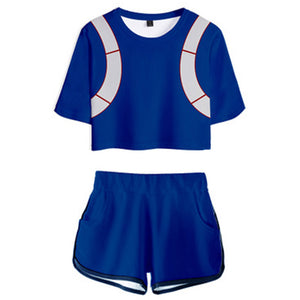 Women My Hero Academia Crop Top Sets Todoroki Shouto Cosplay Short Sleeve T-shirt Shorts 2 Pieces Sets Casual Clothes