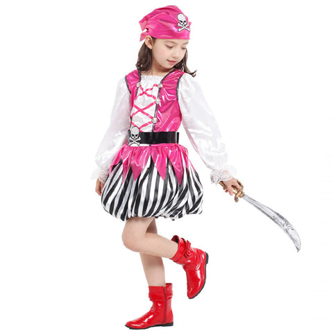 Girl's Halloween Pirate Latern Skirt with Lace Sleeve Pink Pirate Costume