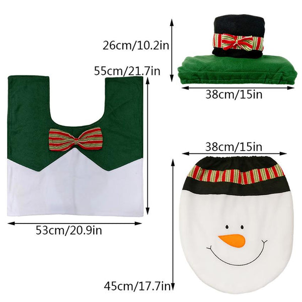 3Pcs/set Christmas Santa Toilet Seat Cover Anti-Slip Bathroom Mat Toliet Rug Christmas Decoration for Home New Year Mat