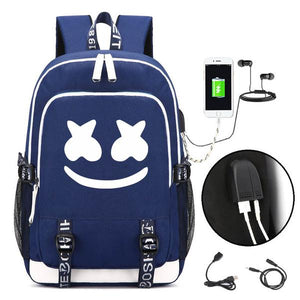 DJ Marshmello School Bag Backpack, Luminous  Bookbag with USB Charging Port Fashion Travel Laptop Backpack with Hat