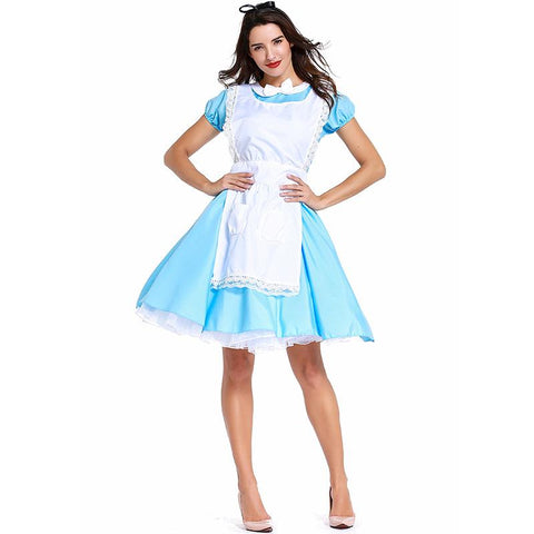 Womens Alice In Wonderland Costume Halloween Cosplay Dress