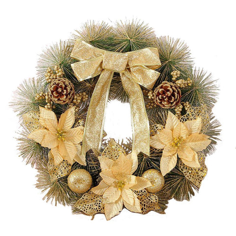 Christmas Artificial Pine Cone Wreath Leaf Fall Door Wall Home Ornament