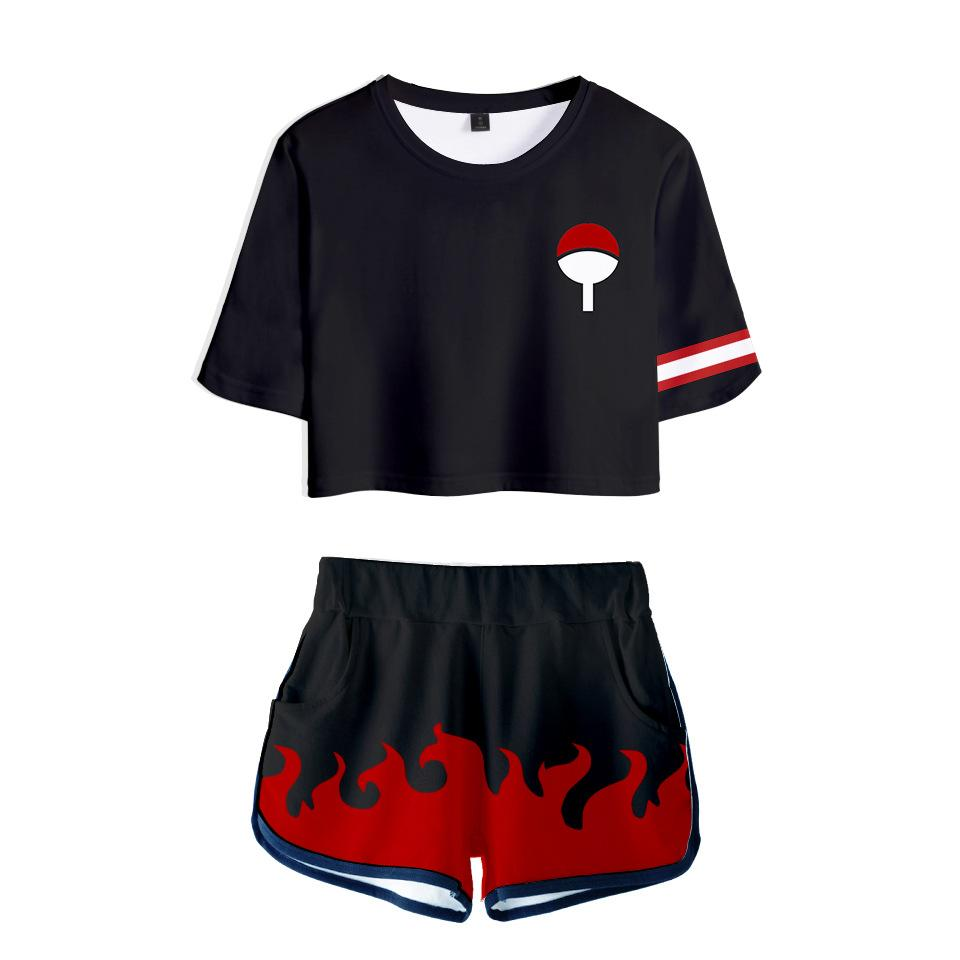 Women Naruto Crop Top Sets Uchiha Cosplay Short Sleeve T-shirt Shorts 2 Pieces Sets Casual Clothes