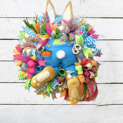 Easter Bunny Butt Wreath Spring Rabbit Explosion Colorful Hanging Front Door Frame Decoration