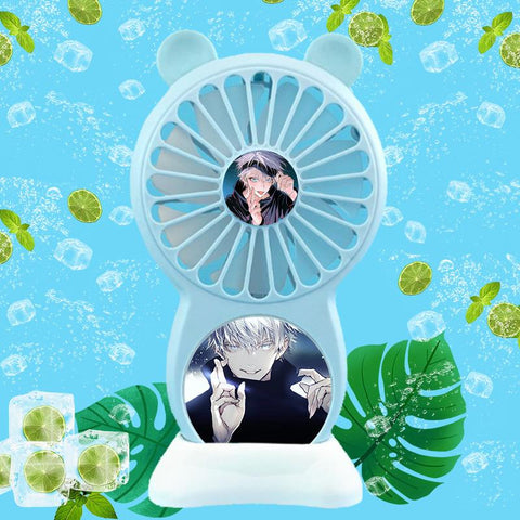 Jujutsu Kaisen Gojo Satoru Handheld Small Fan USB Charging Portable Student Dormitory Office Foldable Mini Fans