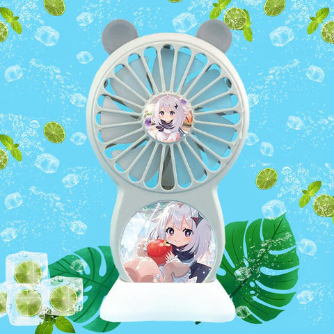 Genshin Impact Paimon Handheld Small Fan USB Charging Portable Student Dormitory Office Foldable Mini Fans