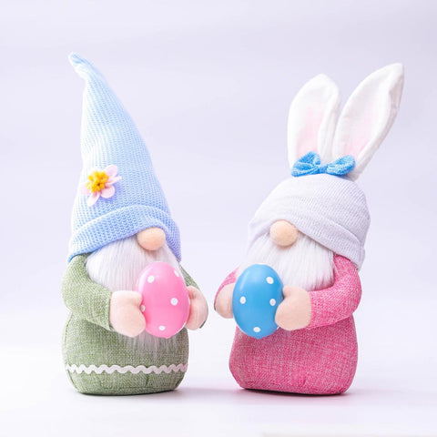 2pcs Easter Gnome Plush Toy Easter Decoration Supplies Easter Bunny Gnome with Eggs Mini Faceless Plush Toy Set