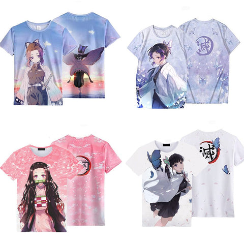 Unisex Demon Slayer: Kimetsu no Yaiba T-shirt Kochou Shinobu Printed 3D Printing Short Sleeve Spring T-shirt Tops