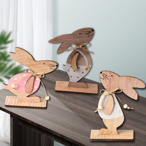 3pcs Easter Decorations Wooden Bunny Eggs with Bow Tie Cute Standing Rabbit Easter Wood Crafts Ornaments