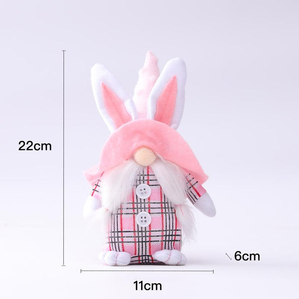 2pcs Easter Gnome Plush Toy Home Decoration Bunny Ear Rabbit Hat Valentine's Day Gift Couple Stuffed Toy