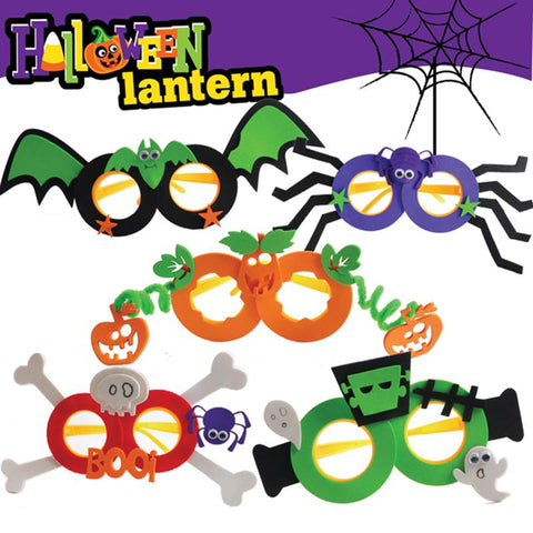 Halloween Funny Eva Glasses Bat Pumpkin Spider Skull Paternity Creative Handmade Materials Package - 5pcs