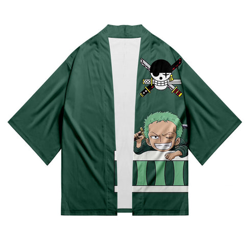 Unisex One Piece Kimono Coat Roronoa Zoro Printed Cosplay Costumes Halloween Costume Cloak