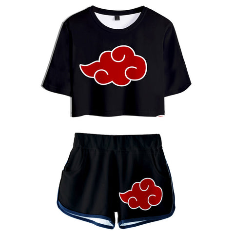 Women NARUTO Cosplay Crop Top & Shorts Set Summer 2 Pieces Casual Clothes