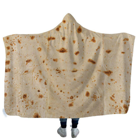 3D Mexican Burritos Taco Wearable Blanket Hooded Warm Robe Cape Cloak