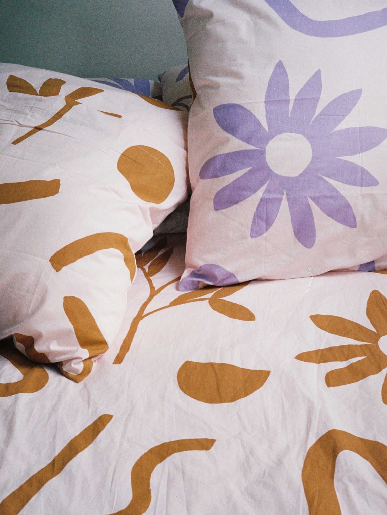 Floral Dreams EURO Pillowcase set Lavender & Mustard  by Mosey Me