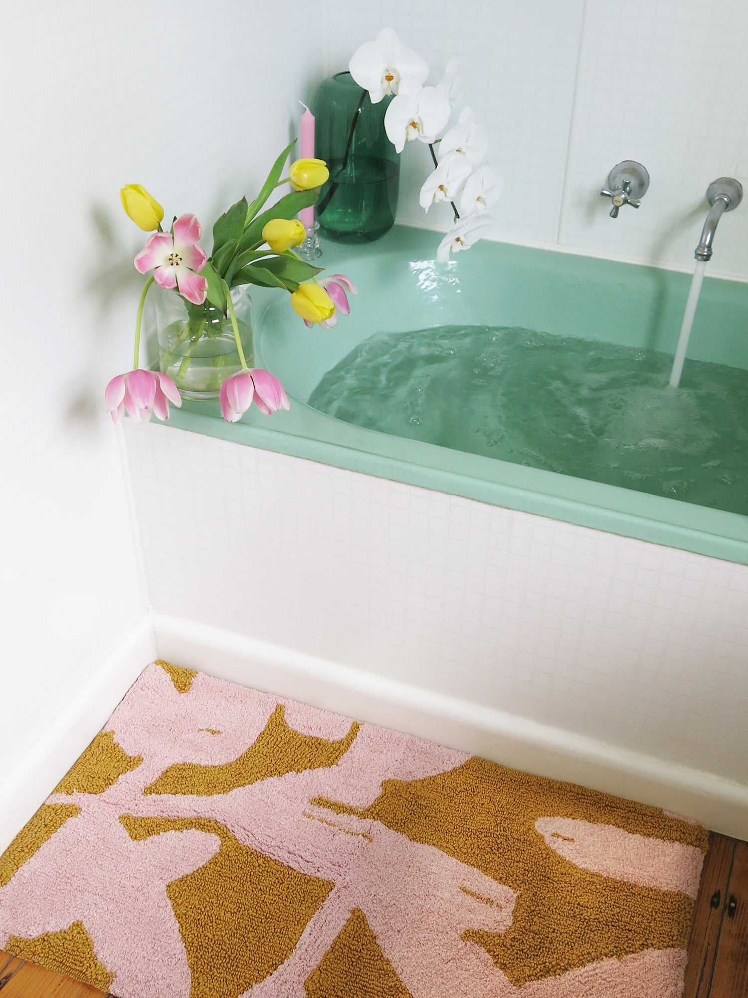 Abstract Bath Mat in Pink & Mustard - PRE-ORDER  by Mosey Me