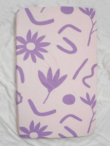 Floral Dreams Fitted Cot Sheet - Lilac  by Mosey Me