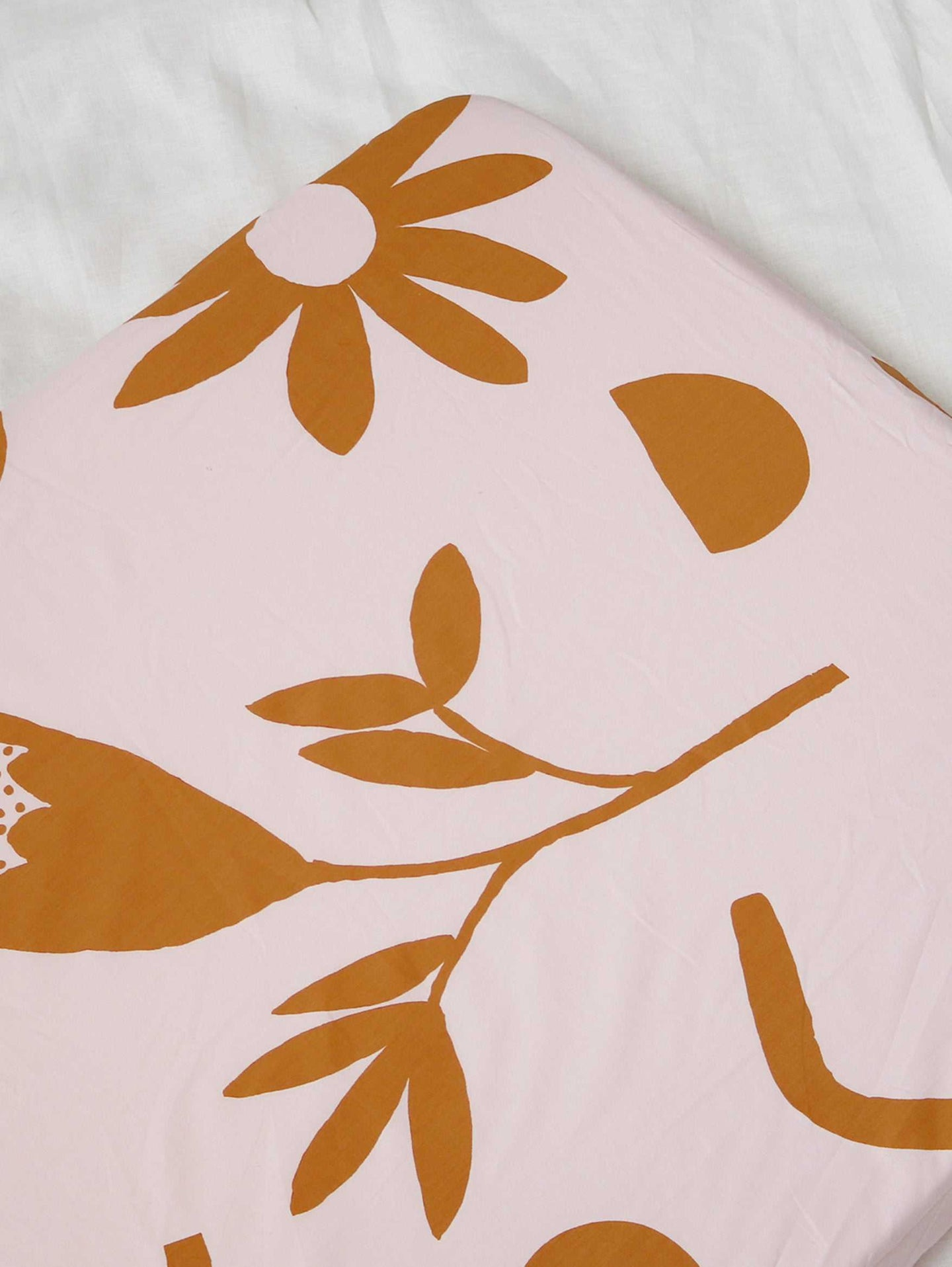 Floral Dreams Fitted Cot Sheet - Mustard  by Mosey Me