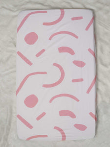 Shapes Fitted Cot Sheet - Pink  by Mosey Me