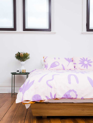 Floral Dreams Quilt Cover Lavender & Mustard