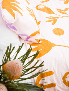 Floral Dreams Quilt Cover Lavender & Mustard  by Mosey Me
