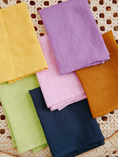 MULTI COLOUR LINEN NAPKIN SET OF 6  by Mosey Me