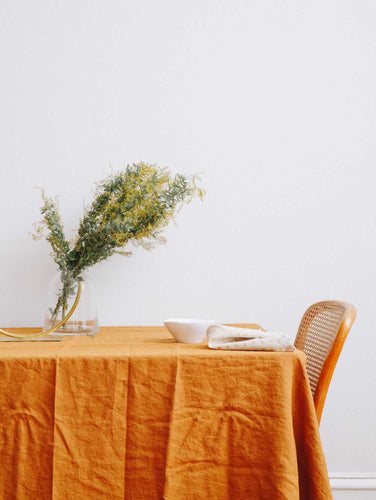 100% LINEN TABLECLOTH TOFFEE