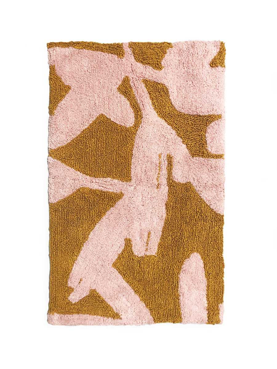 Abstract Bath Mat in Pink & Mustard  by Mosey Me