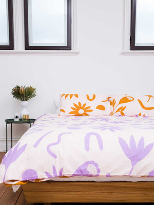 Floral dreams Pillowcase set Lavender & Mustard  by Mosey Me