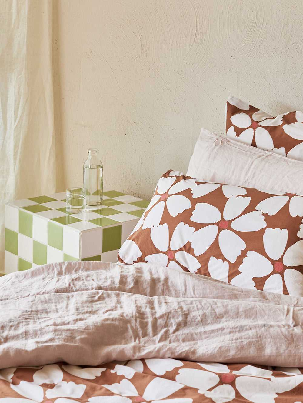 Full Bloom Standard Pillowcase Set in Toffee & Cream  by Mosey Me
