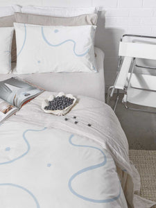 Salento quilt cover in Blue & Clay  by Mosey Me