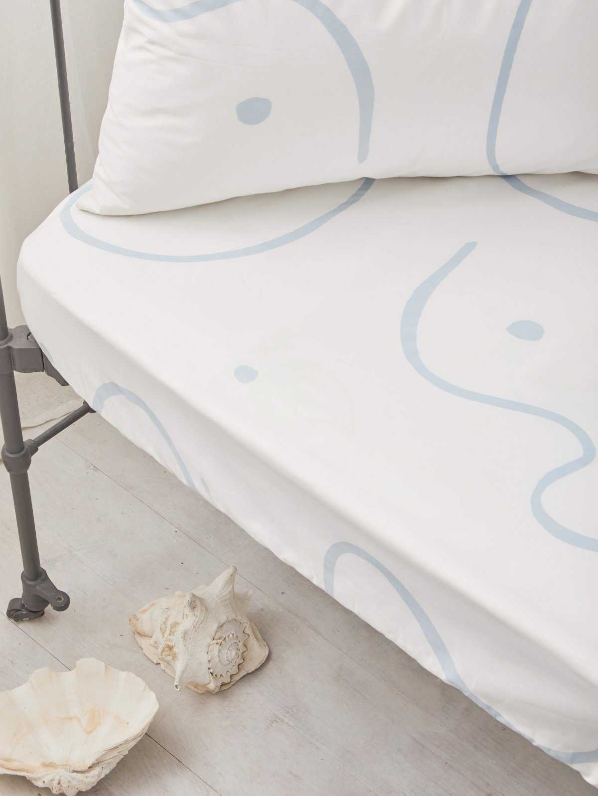 Salento Fitted Cot Sheet - Blue  by Mosey Me