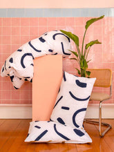 Load image into Gallery viewer, SHAPES Pillowcase set Navy & Tan  by Mosey Me