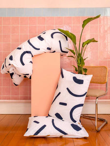 SHAPES Pillowcase set Navy & Tan  by Mosey Me