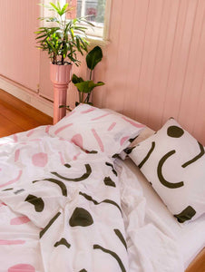 SHAPES Pillowcase Set Pink & Olive  by Mosey Me