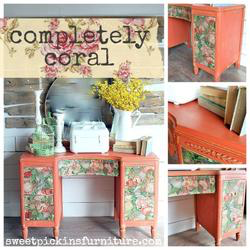 completely coral, sweet pickins milk paint