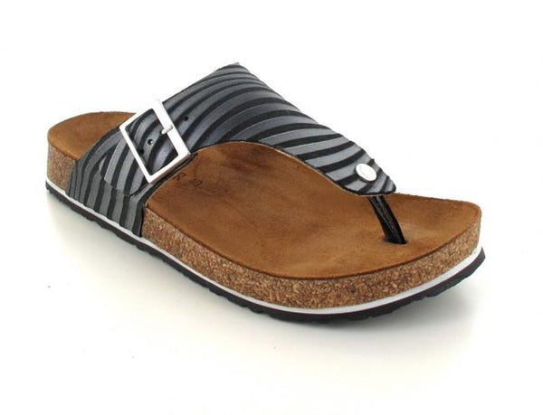 black haflinger-thong-sandals-conny-striped