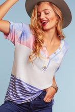 Load image into Gallery viewer, Nina Tie Dye Striped Waffle Shirt