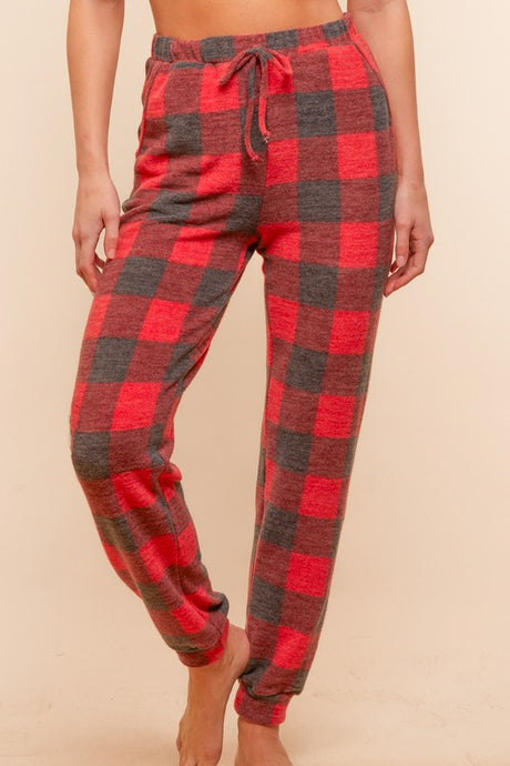 Buffalo Check Cashmere Feel Joggers S-3X