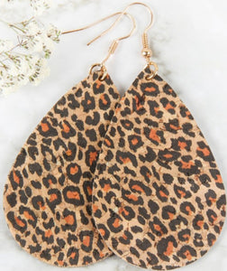 Leopard teardrop cork earrings