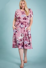 Load image into Gallery viewer, Mauve floral knee length dress