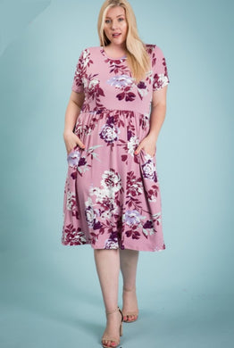 Mauve floral knee length dress