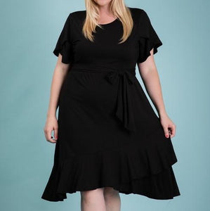 Tulip Sleeve Ruffle Dress 1X-3X