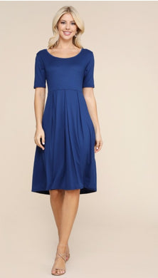 Navy pleated midi dress- Plus