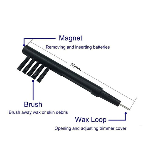 Hearing Aid Cleaning Brush with Magnet & Wax Loop