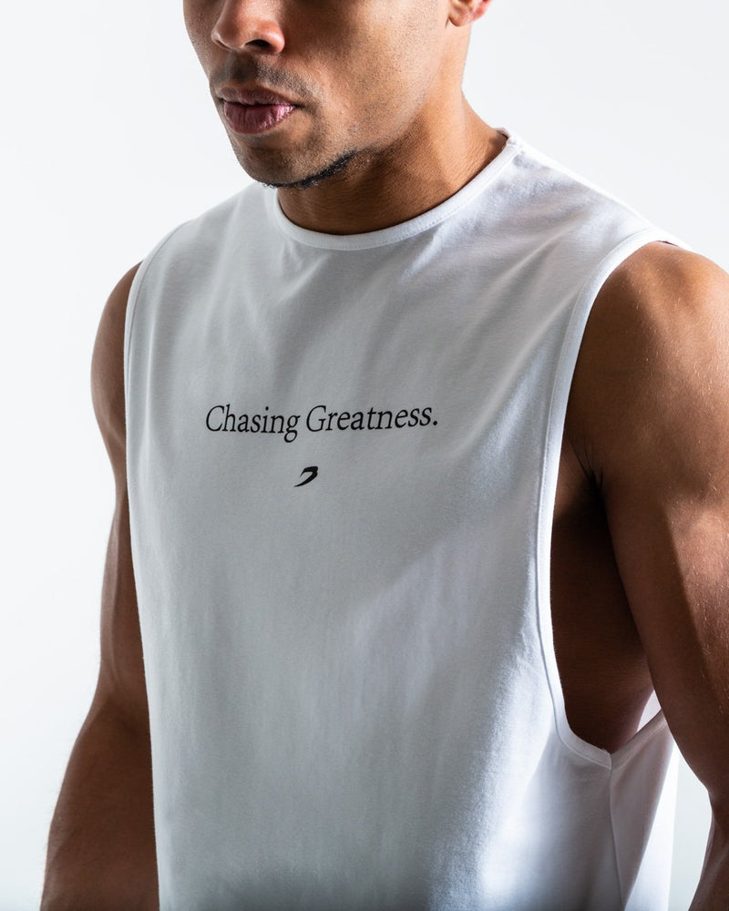 Chasing Greatness Muscle Tank - White